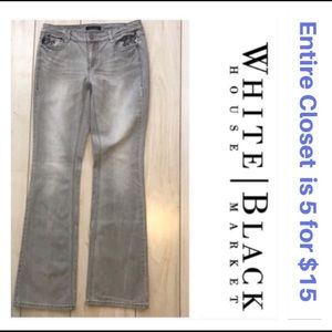 White House Black Market Gray Embroidered Jeans